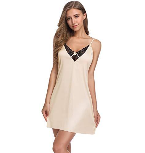 Lusofie Chemise for Women Satin Sexy Nightgown Lace Trim Sleepwear Spaghetti Strap Slips (Beige,XL) ()