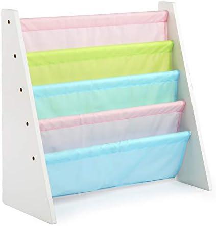 picture of Tot Tutors Kids Book Rack Storage Bookshelf, White/Pastel (Pastel