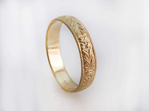 - 14K Solid Gold Wedding Band, Victorian Antique Style, Vintage Engraved Rose Gold Or White Gold Unisex Ring, Floral Patterned, Handmade Jewelry