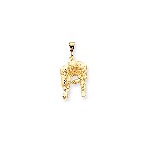 (Solid 10k Yellow Gold Football Pendant Charm (16mm x 34mm))