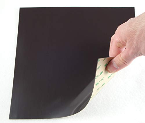Magnetic Sheet Sticker Tiles Withstand 120~130 C (248~266 F) About 220 x220x 1mm 8.66 inch Industrial Sticky Adhesive Backing Very Flexible Magnet, Easy to Roll, Cut Tape Strips Squares