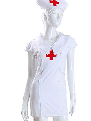 ANJAYLIA Women Role Play Nurse Cosplay Costume Sexy Lingerie Set (Nurse Costume)
