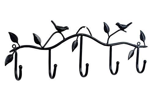 Black Metal 5 Hooks Wall Mount Birds Hook Hanger Rack Holder