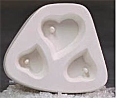 Holey Heart Trio Jewelry Casting Mold for Glass Fusing