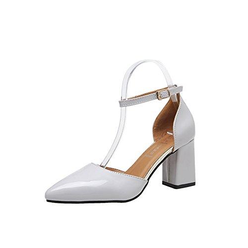 PUMPS Lady Korean Version der Dicken Ferse Schuhe,Zinke High Heels,Helles Gesicht ein Wort mit Schnalle Schuhe,Schuhe mit Hohlen B