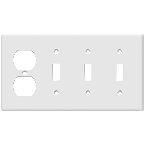 Outlet Wall Plate Single (ENERLITES Combination Wall Plate(Three Toggle Switch/Single Duplex Outlet), Standard Size 4-Gang, Polycarbonate Thermoplastic, White 881321-W)