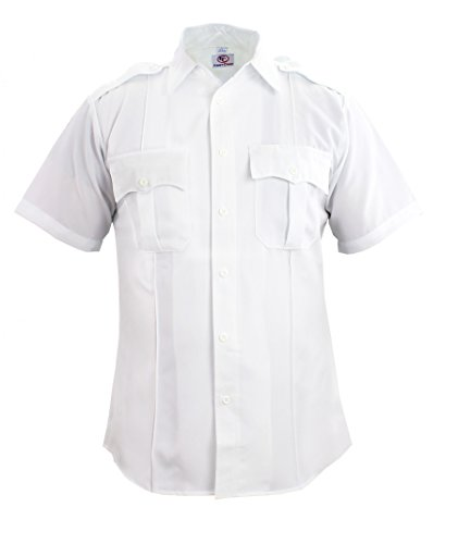 Zippered Uniform - First Class 100% Polyester Short Sleeve Zippered Uniform Shirt 3XLWhite