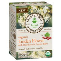 Traditional Medicinals Teas Organic Linden Flower With Hawthorn and Lemon Balm Tea, 16 BAGS (Pack of 2) - Flowers Medicinal