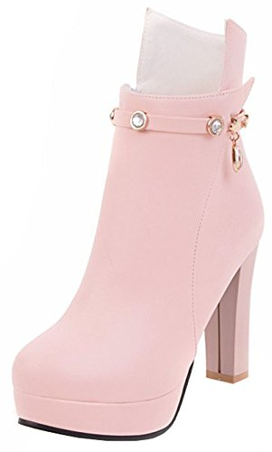Easemax Zipper Heels Round With Dressy Side High Pink Ankle Toe Platform Women's High Chunky Boots a78xaqr