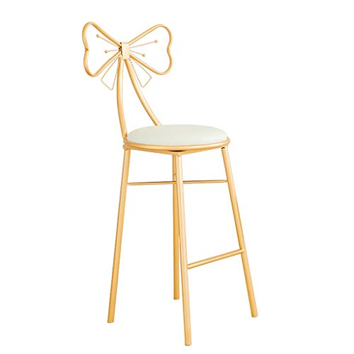 Modern High Bar Stools for Kitchen Gold Bow Barstools with White Faux Leather Cushion Back Rest Lady's Dressing Chair,Seat Height 45/65/75cm (Color : White+Gold, Size : 75cm) -