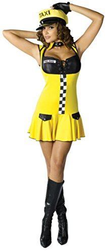 Sexy Cabbie Costumes (Funworld Womens Uniforms Sexy Cabbie Theme Party Fancy Halloween Costume, M/L (10-14))