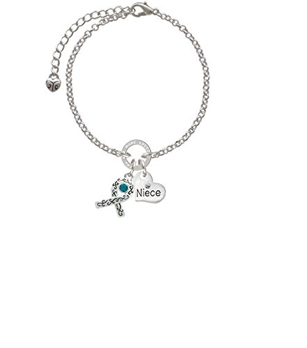 8 Silvertone Scroll Ribbon with Teal Crystal Niece You Are Loved Circle Bracelet