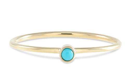 TousiAttar Turquoise Ring Jewelry - Round Blue Genuine Gemstone Beauty Sleeping Natural 14k 18k White Rose Yellow Real Gold - Stackable Jewellery - Small Native Authentic American Stone