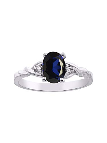 Natural Green Sapphire (Diamond & Sapphire Ring set in Sterling Silver)
