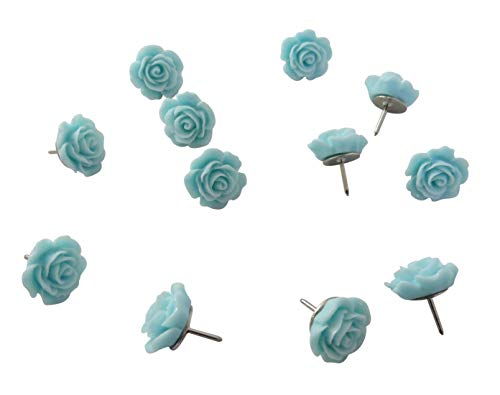 Decorative Rose Thumbtacks for Cork Boards, Unique Handmade Flower Push Pins are Ideal for Pinning Polaroid Photos, Bridal, Baby Showers Decors. Adorning Offices and Weddings - Set of 12. (Teal)