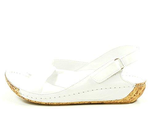 de 02 Blanco Gemini cuero fashion 32024 Sandalias mujer q18wTgI