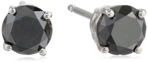 14k White Gold Round Black Diamond Stud Earrings (1.00 cttw)
