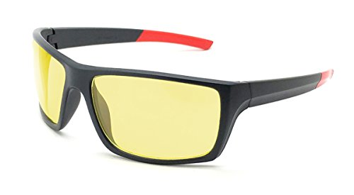 Game Hero Computer Glasses with Anti-Blue Light Lenses for Gaming, Rectangular, Dark Grey Frame with Red Tip Temples, - Gamers Eyewear Edge