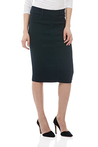 Esteez Jean Skirt for Women Knee Length Brooklyn Navy 12 Short