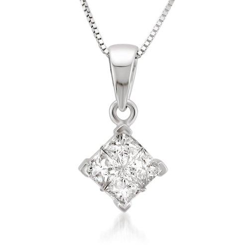 14k White Gold Princess-cut Diamond Invisible-Set Pendant Necklace (5/8 cttw, I-J, I2-I3)
