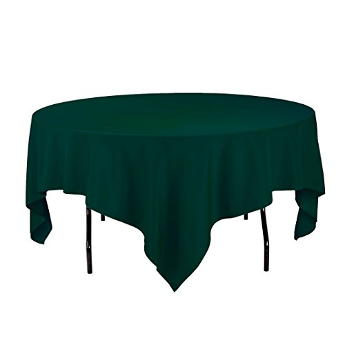 Gee Di Moda Square Tablecloth - 85 x 85 Inch - Hunter Green Square Table Cloth for Square or Round Tables in Washable Polyester - Great for Buffet Table, Parties, Holiday Dinner, Wedding & More