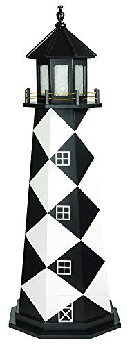 DutchCrafters Decorative Lighthouse - Wood, Cape Lookout Style (6', Black/White)