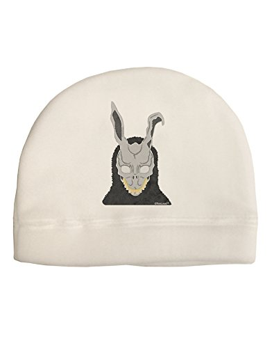 TooLoud Scary Buny Face Watercolor Adult Fleece Beanie Cap Hat White