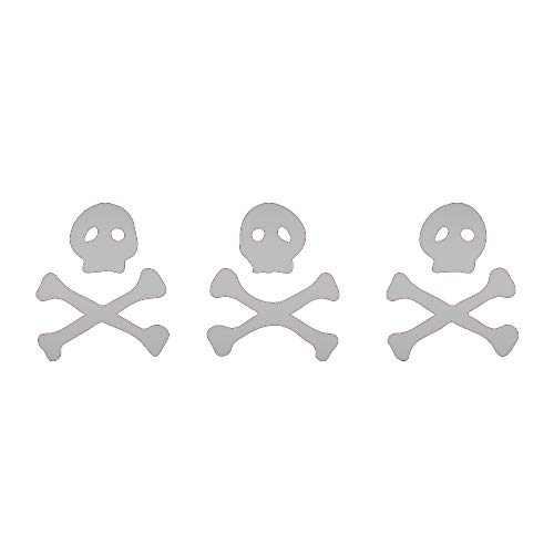 ANGDEST Three Skeletons Pirate Flag (Metallic Silver) (Set of 2) Premium Waterproof Vinyl Decal Stickers for Laptop Phone Accessory Helmet CAR Window Bumper Mug Tuber Cup Door Wall Decoration