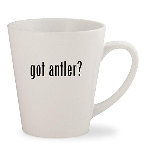got antler? - White 12oz Ceramic Latte Mug Cup (12 Antler Chandelier Elk)