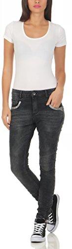 Pantalones Jeans de de Look Destroyed Stretch Hipster Lentejuelas Boyfriend Fife mujer Black Jeans L7675 Lexxury mujer Pocket Baggy q8SRFC