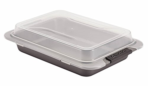 Anolon Advanced Nonstick Bakeware 9-Inch x 13-Inch Covered Cake Pan, Gray with Silicone Grips