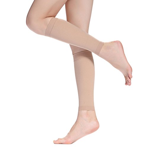 LTHAOO Calf Compression Sleeves -(20-30mmhg) Leg Compression Socks for Shin Splint, Calf Pain Relief - Men Women Sleeve for Running, Cycling, Maternity, Nurses.(M-tNude)