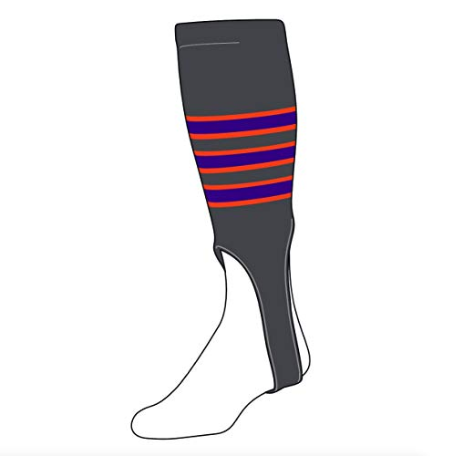 (TCK Baseball Stirrups Medium (200D, 7in) Graphite, Orange, Purple)