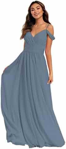 a66aad4b1611 DFUDRESS Off The Shoulder Chiffon Long Bridesmaid Dresses for Women V Neck  Prom Evening Dresses