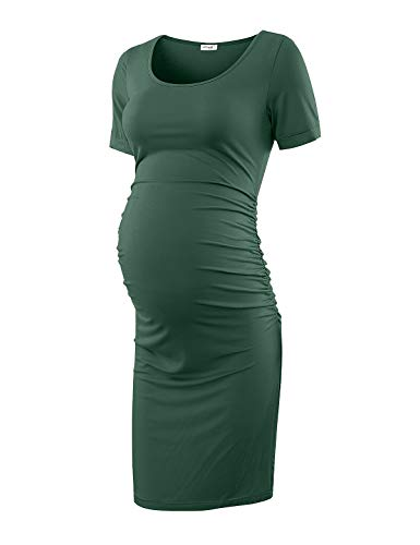Maternity Ruched Sleeve Dress (Maternity Dress Bodycon Ruched Wrap Womens Causual Pregnancy Dresses Dark Green Medium)