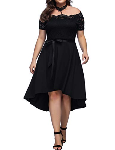 Women's Vintage Floral Lace Short Sleeves Boat Neck Cocktail Formal Swing Plus Size Dress - Dress Chiffon Informal Wedding
