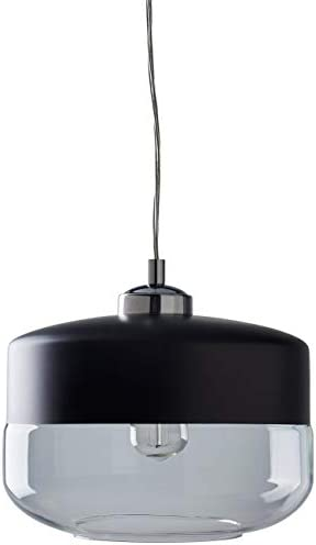 Rivet Mid Century Modern Glass Ceiling Pendant Chandelier Fixture With Edison Light Bulb - 9.75 Inch Shade, 12-58 Inch Cord, Black and Chrome