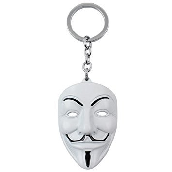 Anonymous - White V for Vendetta face mask Metal collectable keychain -  Smarty Buy  Amazon.in  Bags c170284f5dac