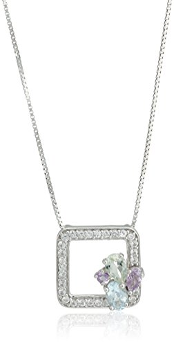 Sterling Silver Blue Topaz, Amethyst and Green Amethyst An Created White Sapphire Frame Pendant Necklace, 18