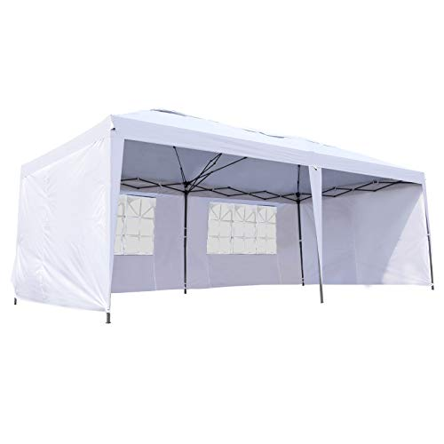 Outsunny Easy Pop Up Canopy Party Tent, 10 x 20-Feet, White with 4 Removable Sidewalls (Best Easy Up Canopy)