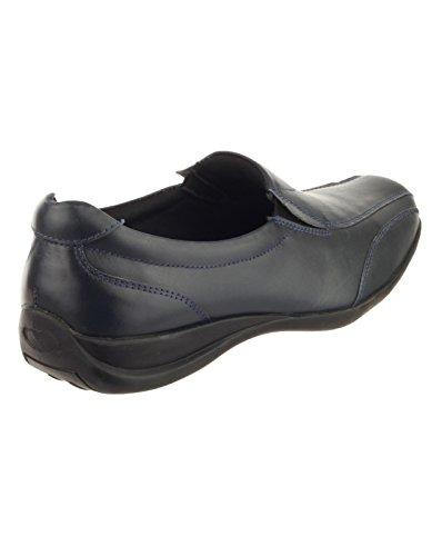 On Ladies Twin Shoe Gusset Ladies Slip On Amblers Slip Leather Black Bleu 8wCg5qIn