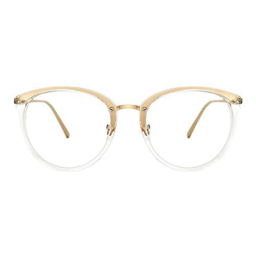 TIJN Blue Light Block Glasses Round Optical Eyewear Non-prescription Eyeglasses Frame for Women Men
