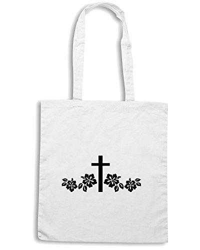 T-Shirtshock - Borsa Shopping FUN1099 cross flower die cut vinyl decal sticker 80297 Bianco