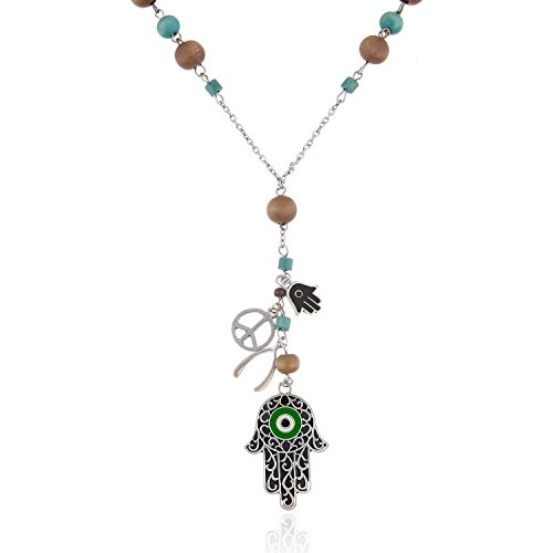 "Wood Beads Hamsa Evil Eyes 28"" Long Necklace by Onnea"