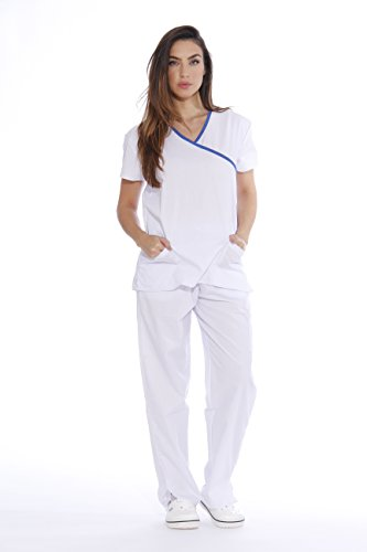 - Just Love Women's Scrub Sets/5 Pocket Medical Scrubs Uniforms (Mock Wrap), White With Royal Blue Trim, Large