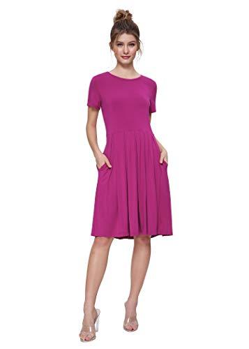 Weintee Women's Short Sleeves Jersey Pleated Dress with Pockets 2X Boysenberry