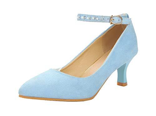 GMMDB006876 Tacco Puro Azzurro Medio Pelle AgooLar Flats di Fibbia Mucca Ballet l Donna vEwqc4Axf