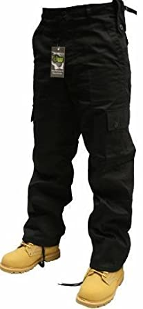 9b081e33d7 Urban Couture Clothing Adults Black or Navy Army Combats Cargo Trousers  Sizes 26-52: Amazon.co.uk: Clothing