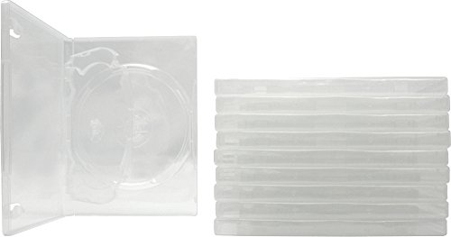 Double Sided Cd Sleeves Slide ((10) Clear Thin Triple DVD Hinged Empty Replacement Boxes / Cases with Wrap Around Sleeve #DV3R14CL (14mm) (3DVD))
