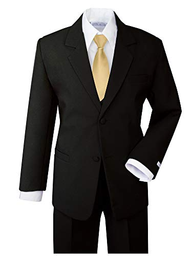(Spring Notion Boys' Formal Dress Suit Set 5 Black Suit Antique Gold Tie)
